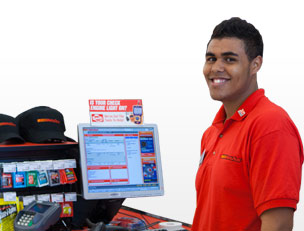 AutoZone employee at parts counter